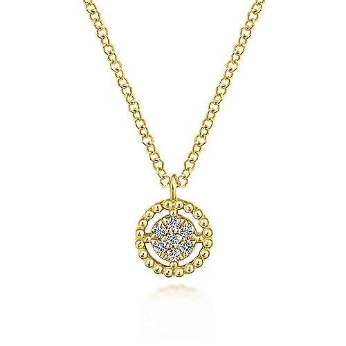 14K Yellow Gold Beaded Round Floating Diamond Pendant Necklace
