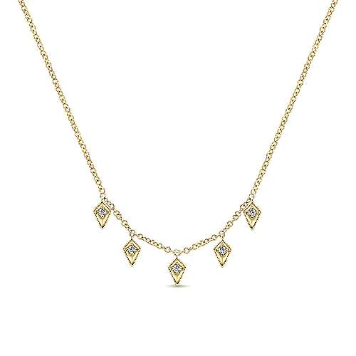 14K Yellow Gold Kite Shaped Diamond Station Necklace
