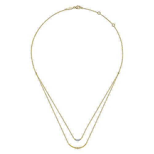 14K Yellow Gold Layered Diamond Crescent Pendant Necklace