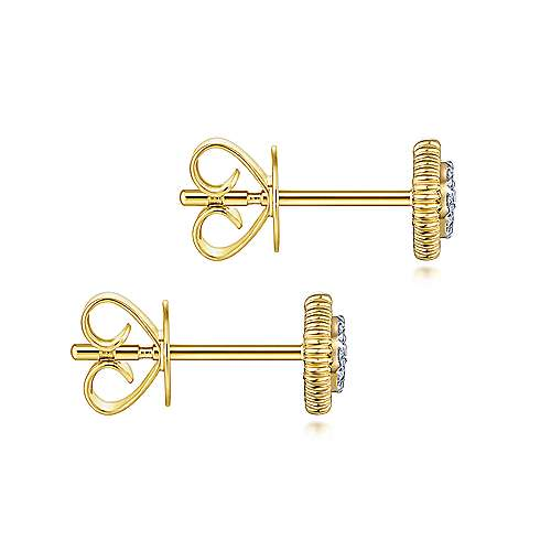 14K Yellow Gold Octagonal Pave Diamond Stud