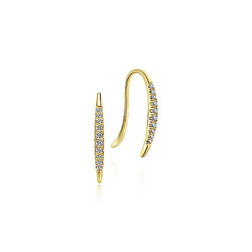 14K Yellow Gold Pave Diamond Ear Climber Earrings
