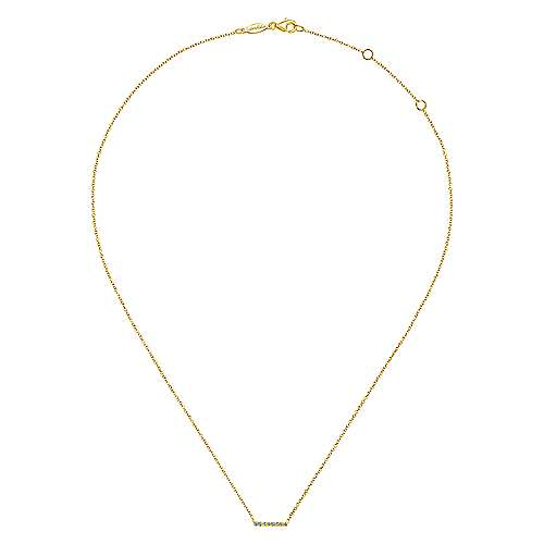 14K Yellow Gold Petite pave Diamond Bar Pendant Necklace