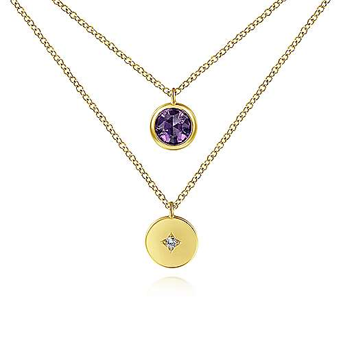 14K Yellow Gold Round Bezel Set Amethyst & Diamond Disc Two Row Necklace