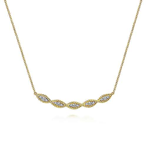 14K Yellow Gold Twisted Curved Diamond Bar Necklace