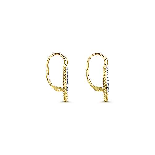 14K Yellow/White Gold Twisted Rope Oval Diamond Drop Earrings