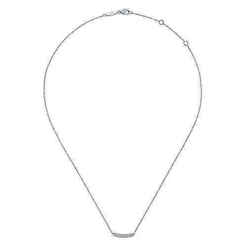14k White Gold Diamond Curved Bar Necklace