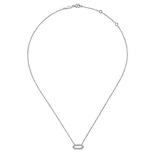 14k White Gold Elongated Hexagonal Diamond Pendant Necklace
