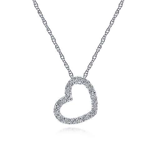 14k White Gold Pave Diamond Open Heart Necklace