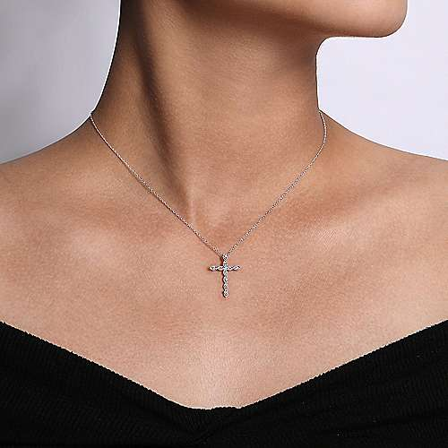14k White Gold Segmented Diamond Cross Necklace