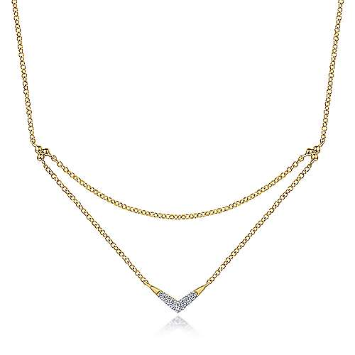14K Yellow Gold Pave Diamond Layered Chain Fashion Necklace