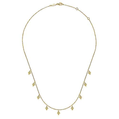 "17.5"" 14K Yellow Gold Diamond Station Necklace"
