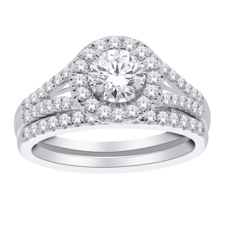 1 tw carat Round Brilliant Cut Diamond Engagement Ring Set