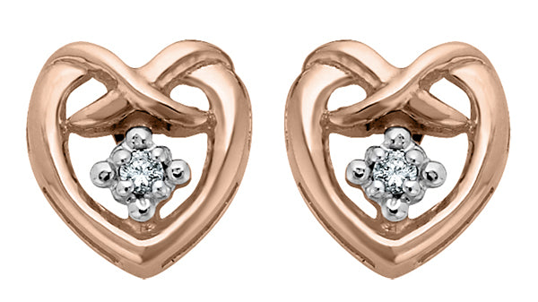 Rose Gold Diamond Heart Shape Earrings