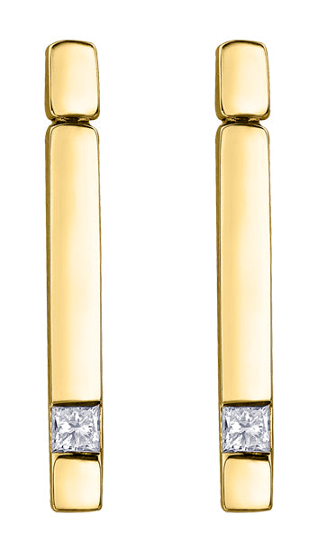 Diamond Yellow Gold Stick Earrings