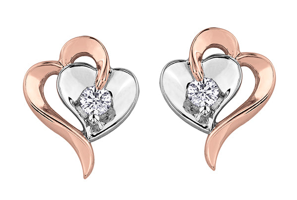 Two tone Rose Gold and White Gold Heart Diamond Earrings