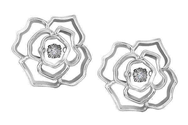 Sterling Silver Rose Diamond Earrings