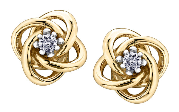 Yellow Gold Knot Diamond Earrings