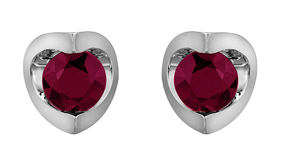 Ruby Stone White Gold Stud Earrings