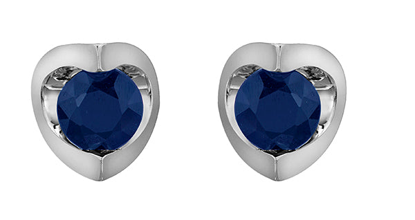 Sapphire Stone White Gold Stud Earrings