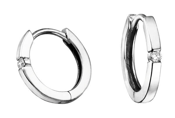 Diamond White Gold Small Hoop Earrings
