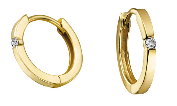 Diamond Yellow Gold Small Hoop Earrings