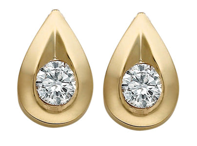 Teardrop Diamond Yellow Gold Earrings