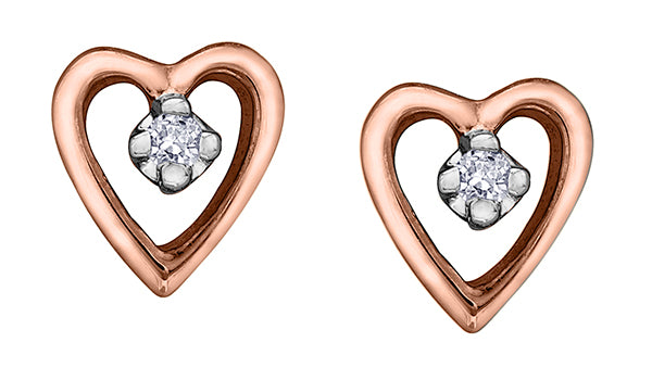 Heart Shape Diamond Rose Gold Earrings