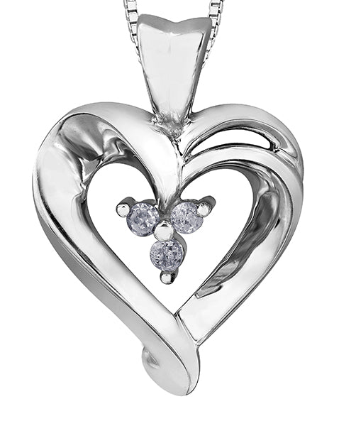 Triple Diamond White Gold Heart Pendant Necklace
