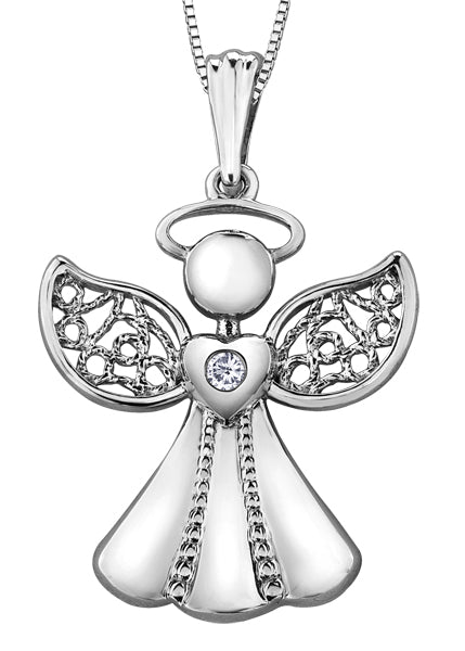 White Gold and Diamond Angel Pendant Necklace