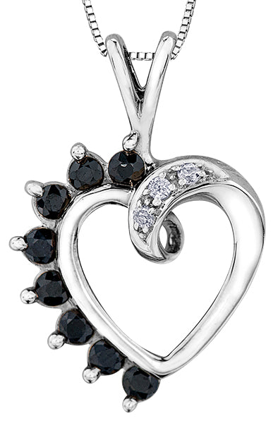 Blue Sapphire and Diamond Heart Shape Pendant Necklace