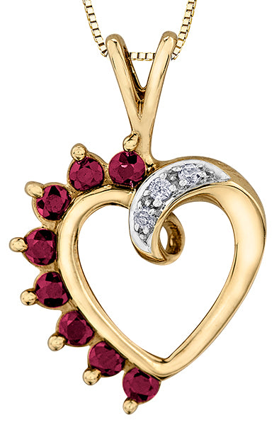 Ruby and Diamond Heart Shape Pendant Necklace