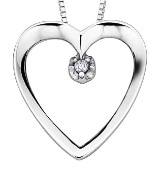 Diamond White Gold Heart Pendant Necklace