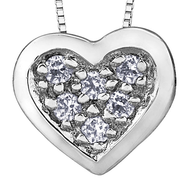 Diamond Filled White Gold Heart Pendant Necklace