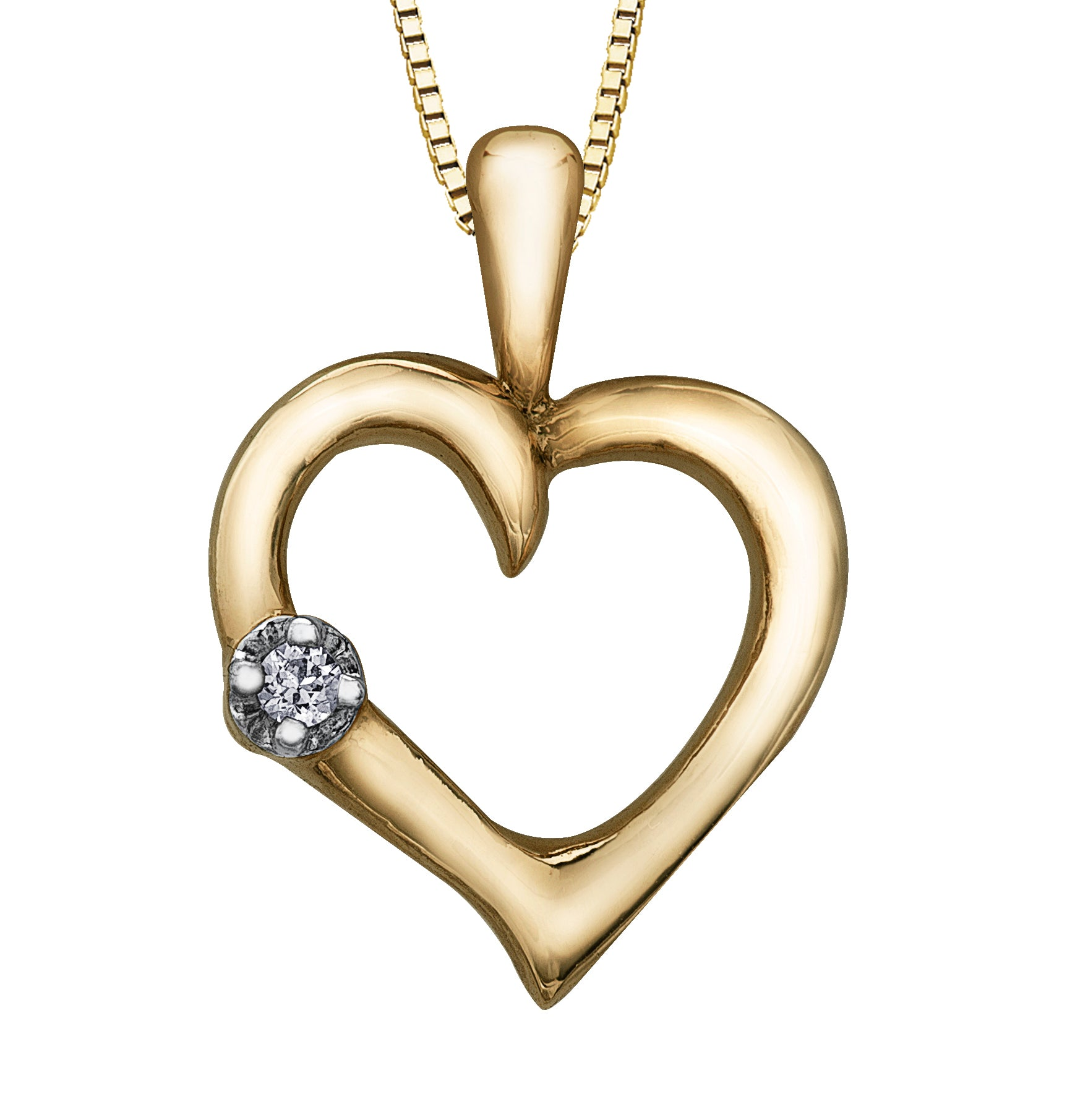 Yellow Gold Diamond Heart Shape Pendant Necklace