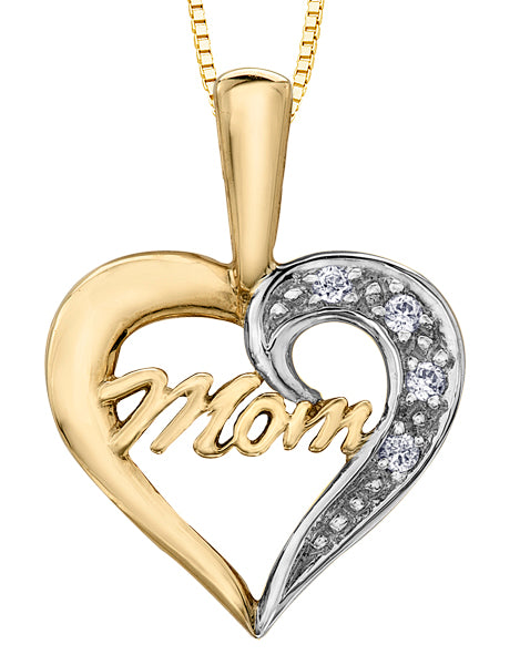 Two Tone Gold Heart Shape Mom Pendant Necklace