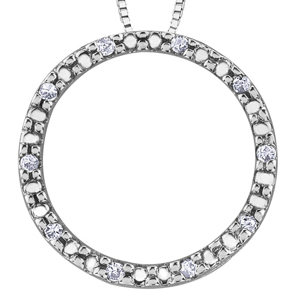 Diamond White Gold Circle Pendant Necklace