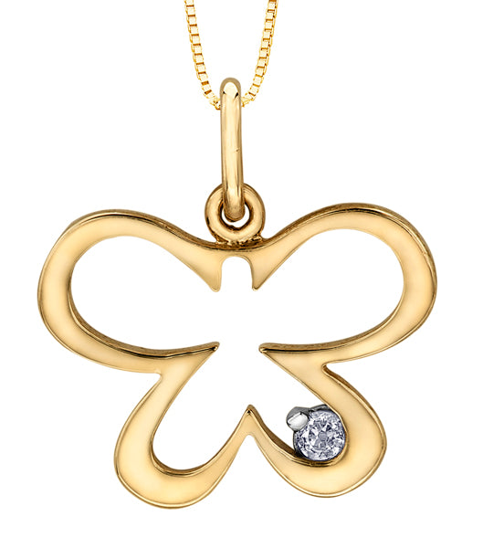 Butterfly Diamond Yellow Gold Pendant Necklace