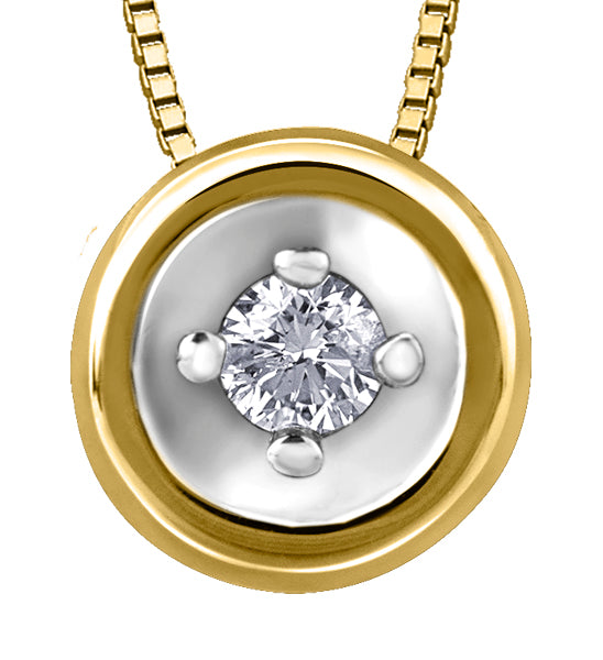 Diamond Yellow Gold Circle Pendant Necklace