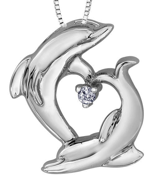 Diamond White Gold Dolphins Pendant Necklace
