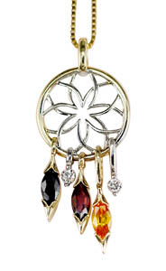 Two Tone Dreamcatcher Pendant Necklace with color stone