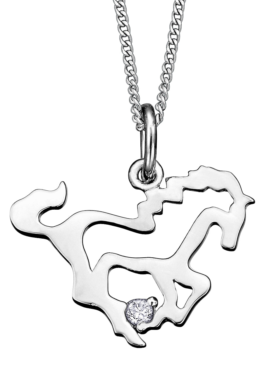 White Gold Horse Pendant Necklace