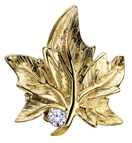 Yellow Gold Canadian Maple Leaf Pendant Necklace