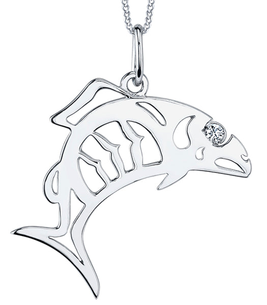 White Gold Salmon Fish Pendant Necklace