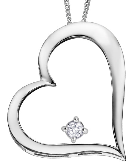 White Gold Diamond Heart Pendant Necklace