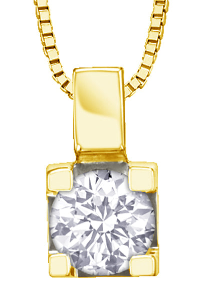 Yellow Gold Diamond Square Pendant Necklace