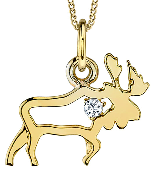 Yellow Gold Canadian Moose Pendant Necklace
