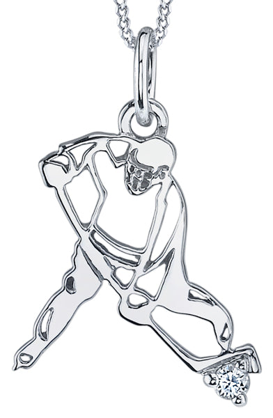 White Gold Hockey Player Diamond Pendant Necklace
