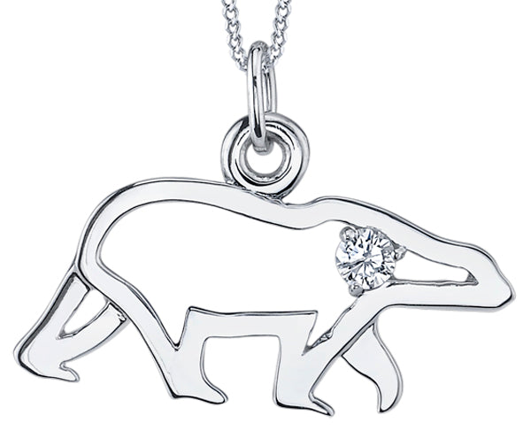 White Gold Polar Bear Pendant Necklace