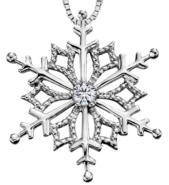 White Gold Snowflake Pendant Necklace
