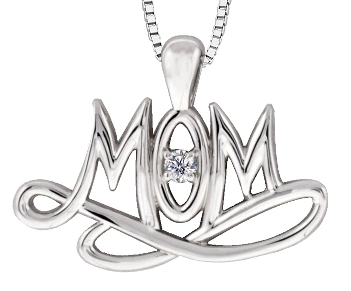 Sterling Silver Mom Diamond Pendant Necklace